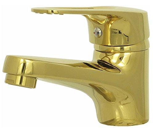 Waschtischarmatur Gold für das Bad Einhebelmischer Wasserhahn modern Design Hochdruckarmatur
