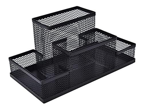 m-stone 鉛筆立て 黒 多機能収納 小物入れ 文具 デスクオーガナイザー 卓上収納 オフィス メッシュ ペン立て
