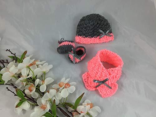 Puppen Kleidung Set: Mütze, Schal und Schuhe (leicht dehnbar) für eine Puppe ca. 35 cm, gestrickt, gehäkelt, Handarbeit, Handmade, NEU