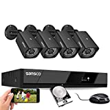 SANSCO 1080P Wired Security Cameras System, 8CH HD DVR with 1TB Hard Drive for 24/7 Recording, 4Pcs 2MP CCTV Outdoor Indoor Waterproof Surveillance Cameras, Night Vision, Remote Access, Motion Alert