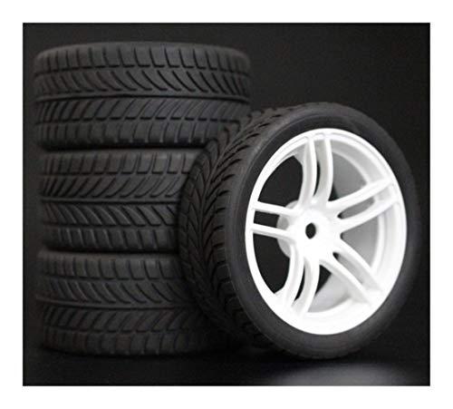 Huanruobaihuo 4pcs 1/10 On-Road neumáticos del Coche 26 * 64MM Rueda de plástico llanta de neumático de Goma 9064 for HSP Tamiya HPI Kyosho Sakura 94122 94123 D3 D4 TT02 (Color : 6085)