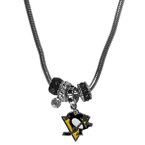 NHL Siskiyou Sports Womens Pittsburgh Penguins Euro Bead Necklace 18 inch Team Color