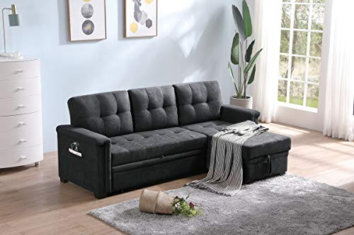 Lilola Home Ashlyn Contemporary Dark Gray Woven Fabric Padded Upholstered Modern Sofa Bed Couch Sectional Sleeper Sofa Storage Chaise with USB Charger and Tablet Pocket for Phone Charging Port Station