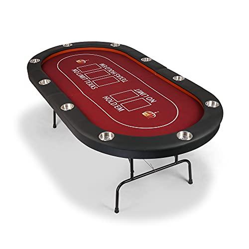 Vilobos Poker Table Foldable, 10 Players Texas Holdem Poker Table, Casino Table for Blackjack Board Game w/Deep Steel Cup Holder - Red Felt Surface