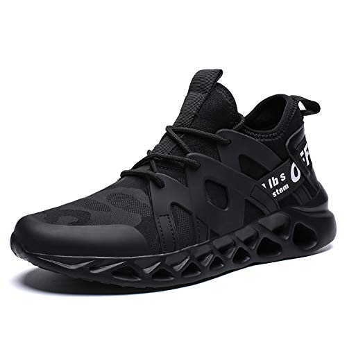 Pozvnn Men's Sneakers Mesh Ultra Lightweight Breathable Athletic Running Walking Gym Shoes Fashion Personality Shoe Outdoor Sport All/Black41