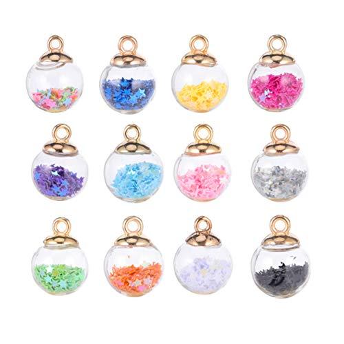 TOYANDONA Cristal Bola Charms purpurina 34 Unidades Botellas de Cristal con Estrella para DIY Collar Pulsera Joyería Fabricación 16 mm Color aleatorio