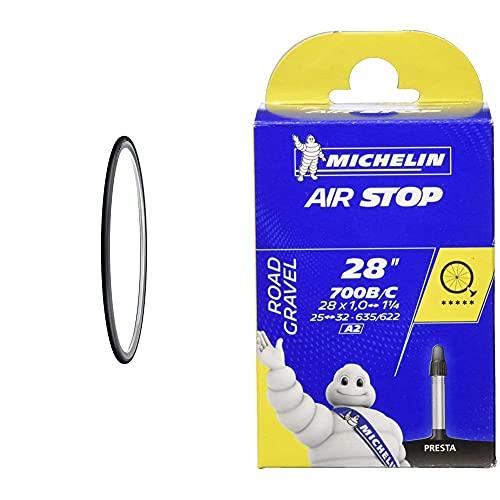 Michelin Lithion 2 Pneumatico Per Bici Da Corsa, Grigio, 700X23 & Airstop Camera D'Aria Per Bicicletta (700 C, 25-32 Mm Con Valvola Francese 40 Mm)