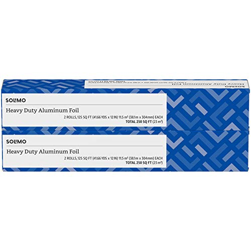 Amazon Brand - Solimo Heavy Duty Aluminum Foil, 250 Sq Ft (Pack of 2)