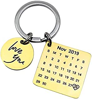 YCFACTORY Personalized Calendar Keychain Hand Carved Calendar Keyring Stainless Steel Brelok(Silver) Key Rings (Color : Gold)