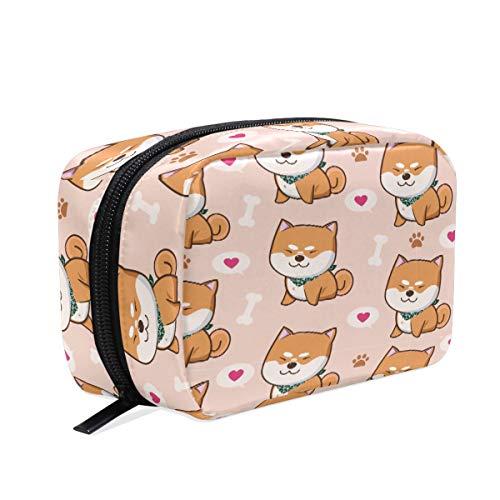 Kawaii perros de Shiba Inu. Neceser de maquillaje con forma de corazón para cachorros de anima, bolsa de aseo de viaje, organizador para mujeres y niñas al aire libre