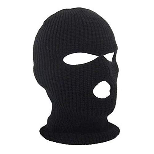 Ogquaton 1 UNIDS Unisex 3 Agujero Punto Balaclava Máscara Sombrero Máscara de Cara A Prueba de Viento Máscara de Ciclismo de Esquí Universal para Actividades al Aire Libre Negro
