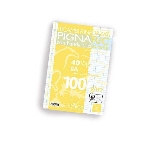 Pigna 02222370A, Ricambio con Banda Rinforzata, Rigatura 0A, righe per 1° e 2° elementare, Carta 100g/mq, Pacco da 40 Fogli