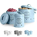 Virklyee® Kartoffeltopf, Zwiebeltopf und Knoblauchtopf Belüftet Vorratsbehälter Set, Set of 3 Die...
