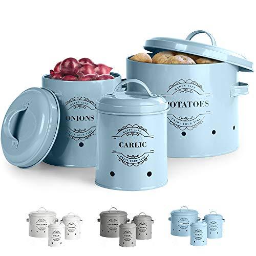 Virklyee® Kartoffeltopf, Zwiebeltopf und Knoblauchtopf Belüftet Vorratsbehälter Set, Set of 3 Die perfekte Kombination aus Modedesign (Blau)