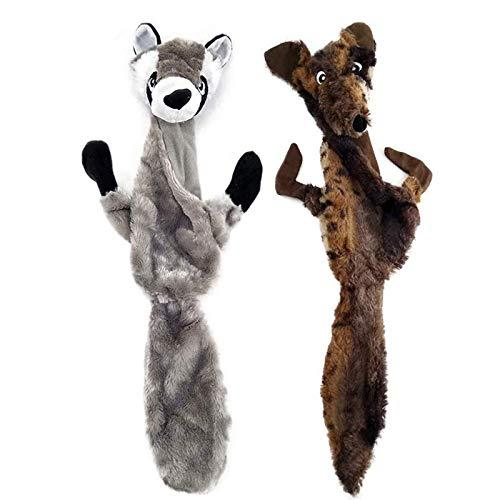 Aidiyapet - Giocattoli per cani da masticare, con squittio, in peluche, resistenti, per cani di taglia media e grande, confezione da 2 (lupo e procione)