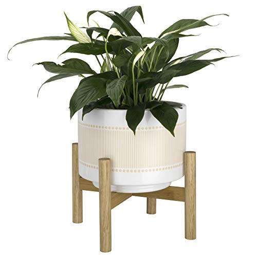 La Jolíe Muse Pot de fleurs en céramique avec support en bois