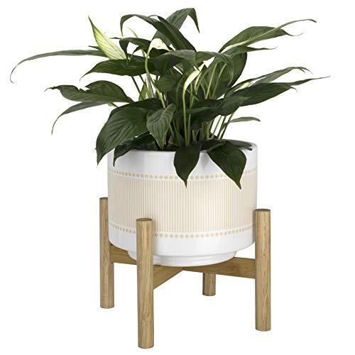 La Jolíe Muse Keramik Blumentopf mit Holzständer - 20.5cm Boho Punkte-Linien-Muster Zylinder Blumentopf mit Abflussloch für drinnen, Gelb beige & helles weiß