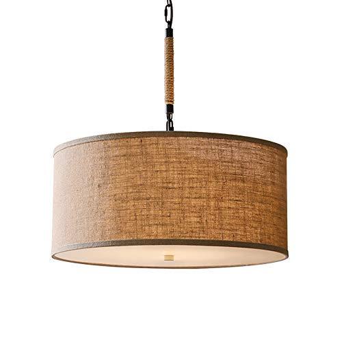 Leinen Stoff Pendelleuchte, Handgemachte Rustikale Rund Hängelampe, Trommel Moderne Braun Lampenschirm für Wohnzimmer Schlafzimmer Esszimmer, 5 Lampen, E27, Höhenverstellbar (D 50CM)