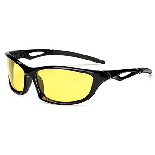 Long Keeper Occhiali da Guida Visione Notturna Occhiali da moto da Uomo Donna Lenti Gialli Protezione UV per Moto Corsa Pesca Guida