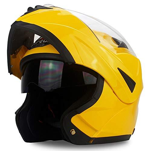 U/D Casco de la Motocicleta Que compite con la Cara Llena Casco Protector for Moto Lente Doble Casco Hombres Mujeres Anti-Niebla (Color : Amarillo, Size : S)