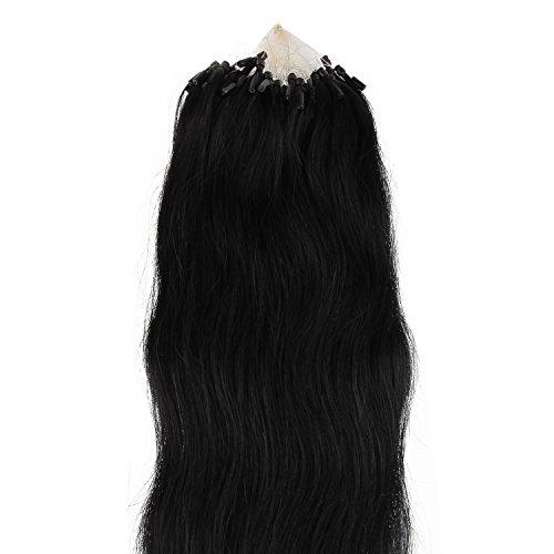 Beauty7 100 Extension de Cheveux Naturel 46 CM Micro Loop Ring EASY LOOP Cheveux Anneaux Pose a Froid Raides/Droits/Laisses Couleur Noir #1 Poids 100g 1g/meche