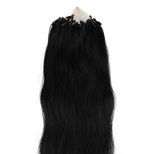 Beauty7 100 Extension de Cheveux Micro Loop Ring Beads Cheveux Humain Naturel 50CM Couleur Noir #1 Poid 50g