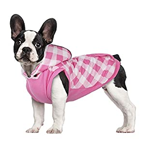 Kuoser British Style Plaid Dog Winter Coat, Windproof Cozy Cold Weather Dog Coat Fleece Lining Dog Apparel Reflective Dog Jacket Dog Vest for Small Medium Dogs with Removable Hat(XXS-L)