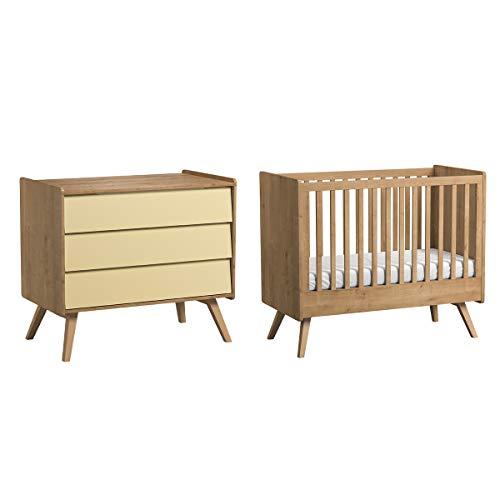 Lit bébé 60x120 et Commode à langer Vintage - Bois Beige