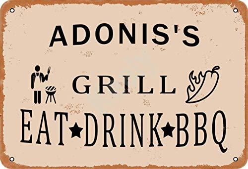 Keely Adonis'S Grill Eat Drink BBQ Metall Vintage Zinn Zeichen Wanddekoration 12x8 Zoll für Cafe Coffee Bars Restaurants Pubs Man Cave Dekorativ