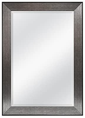 MCS Pewter Finish 24 by 36-Inch Beveled Mirror with 30.2 by 40.2-Inch Frame