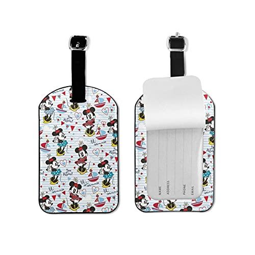 Etiqueta de equipaje de Mickey Mouse Minnie con estilo y exquisitas etiquetas de equipaje hechas de piel sintética de microfibra, apto para maleta y bolso