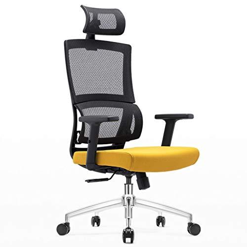 LIUDINGDING-Sessel, Ergonomie Computer Stuhl Haushalts Gürtel E-Sport-Stuhl Bürostuhl Rückenlehnenstütze Sessel Hebe Reclining (Color : Yellow)