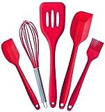 HZWLF Herramienta para hornear, raspador 5 piezas/Set de accesorios de cocina utensilios de cocina de panadería de silicona utensilios de cocina espátula, juego de herramientas para tartas