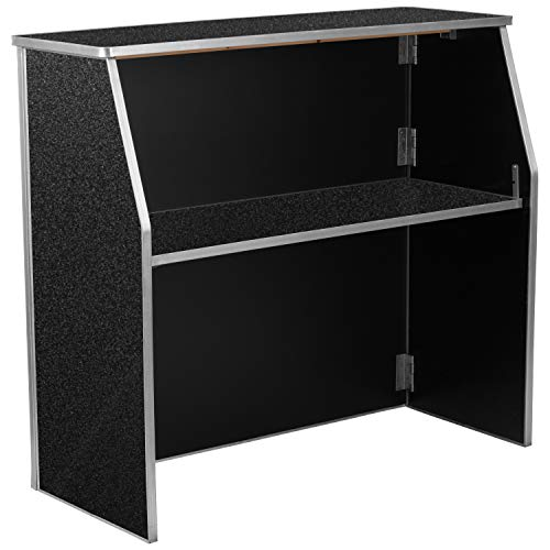 Flash Furniture 4' Black Marble Laminate Foldable Bar