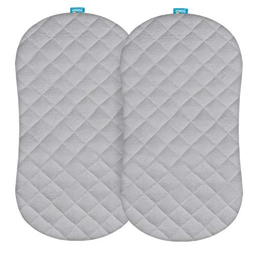 Protector de colchón para moisés, impermeable, ajuste para colchón ovalado de reloj de arena/moisés ovalado, paquete de 2, superficie de forro polar de bambú ultrasuave,...
