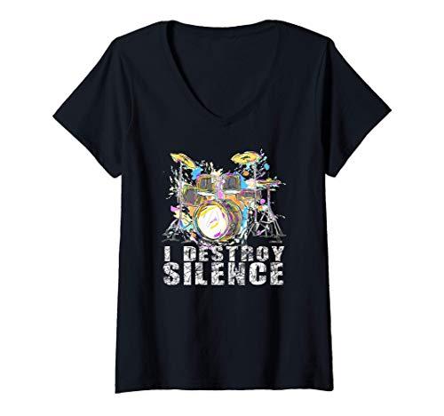 Mujer Tambores I destruir Silencio - El batería Camiseta Cuello V