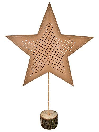 Papierstern auf Holz Fuß - 15 LED - Weihnachtsstern Tischlampe Tisch Deko Stern