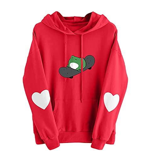 URIBAKY - Sudadera con capucha y capucha, diseño de corazón de manga larga para mujer, sudadera con capucha, B-rojo., M