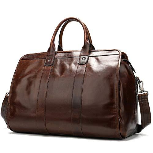Travel Duffel Bag Smooth Leather Travel Bag Men Women Vintage Travelling Bags Hand Luggage Brown Waterproof High Capacity Handbag (Color : Brown, Size : 38.5x17x24cm)