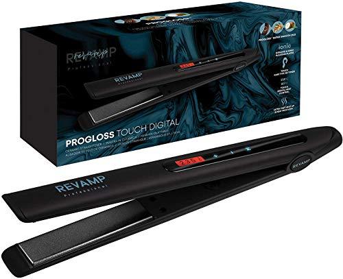 Revamp Progloss Touch Digital Plancha de Pelo con Placas de Cerámica – Alisadora y Moldeadora de Cabello para Alisado y Rizado, Control Táctil del Calor, Iónes Negativos, Cable Giratorio de 3m