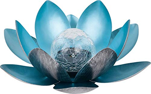 Dehner Solarleuchte Lotus, Ø 27.5 cm, Höhe 12 cm, Metall, silber/blau