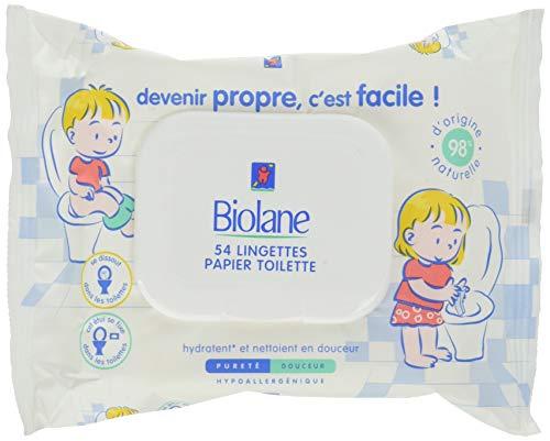 Biolane - Lingettes Papier Toilette jetables - Lingettes humides Bébé & enfant - Hydrate et Nettoie en Douceur - peaux sensibles - 54 Lingettes