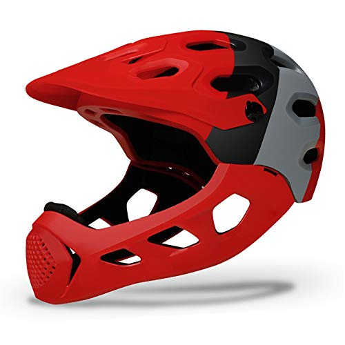 JHHXW Cycling Helmet, Removable Protective Chin Bar, Mountain Bike Full Face Extreme Sports Safety Helmet, M/L (56-62cm) (Color : Red)