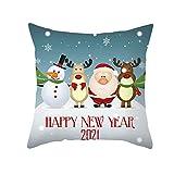 ANAZOZ Funda de Cojin 40 x 40,Fundas de Cojin Poliéster Fundas Cojines Happy New Year 2021' Ciervos Papá Noel Monigote de Nieve Gris Azul