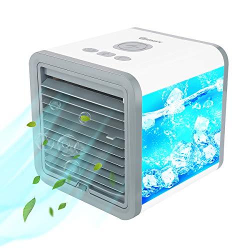 GIMIFY Mini Climatizzatore Portatile 5 in 1, Mini Raffreddatore D'aria, Mobile Raffreddatore D'aria, purificatore d'aria per ufficio e casa, 3 velocità + 7 colori LED + USB