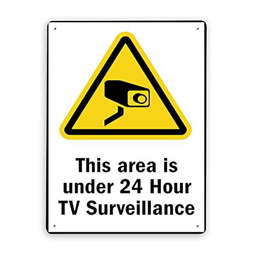 Señal de advertencia,Señal de vigilancia las 24 horas Esta área tiene menos de vigilancia por televisión las 24 horas,Señal de advertencia de tráfico de metal de aluminio de estaño 12x16 Inch