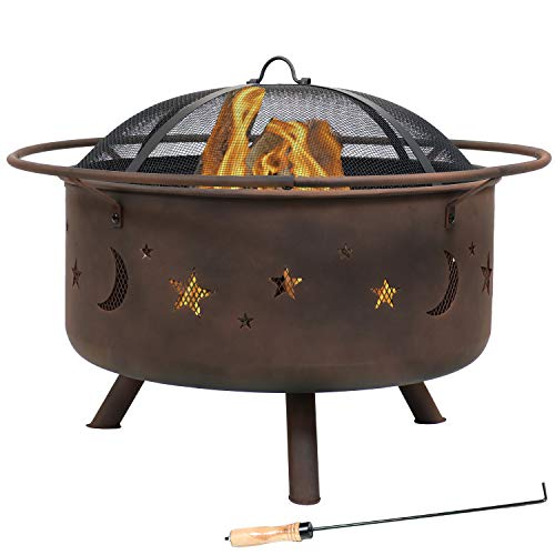 Sunnydaze Cosmic Outdoor Fire Pit - 30 Inch Round Bonfire Wood Burning Patio & Backyard Firepit for...