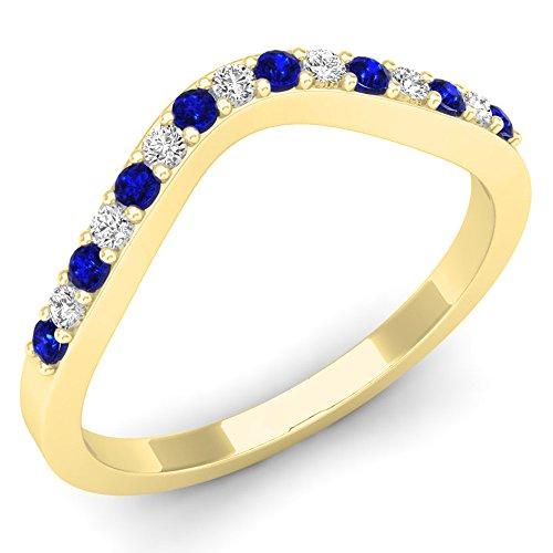 DazzlingRock Collection 14k Or Jaune Rond Bleu I-J Bleu Saphir Diamant Blanc