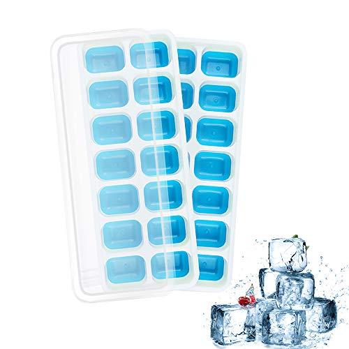 Bandejas de cubitos de hielo con tapas, paquete de 2 bandejas de cubitos de hielo, reutilizables sin derrames, moldes de silicona de grado alimenticio, sin BPA, duraderos fáciles de liberar apilables