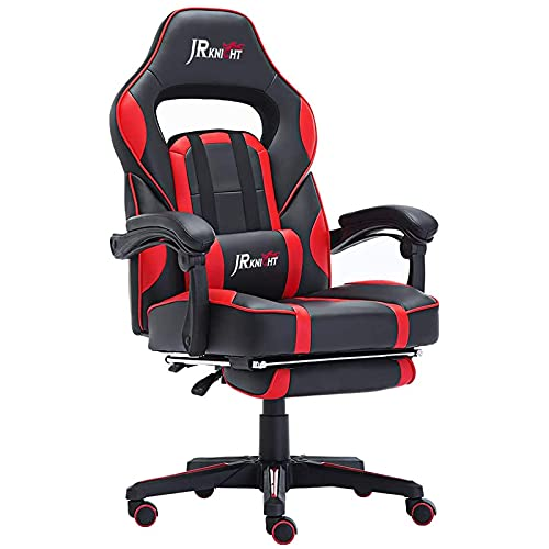JR Knight Ergonomic Gaming Chair with Footrest,Home Office Computer Executive Swivel Chair with Lumbar Support,PU Leather Desk Chair with Recliner (Black&Red)